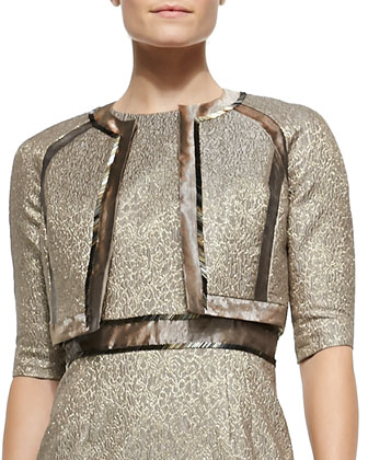 3/4-Sleeve Metallic Jacquard Bolero Jacket