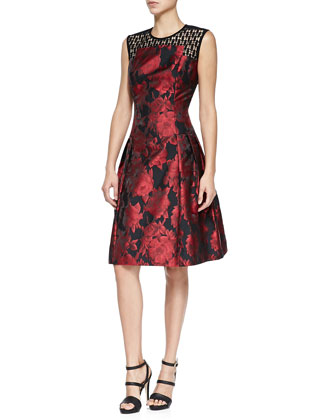 Sleeveless Jacquard Cocktail Dress