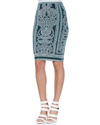 Tempes Tapestry-Print Bandage Skirt