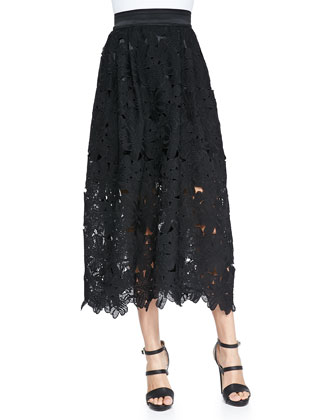 Lace Cutout Midi Party Skirt, Black