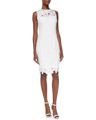 Sleeveless Floral Lace Sheath Dress, Ivory