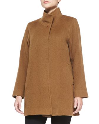Stand-Collar Camel Hair Coat