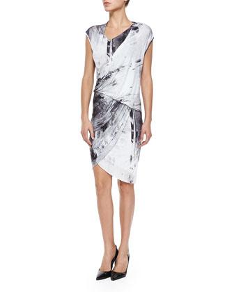 Printed Draped Wrapped Jersey Dress