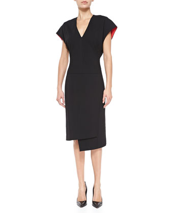 Asymmetric Contrast-Lining Crepe Dress