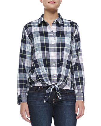 Tie-Hem Silk Plaid Blouse