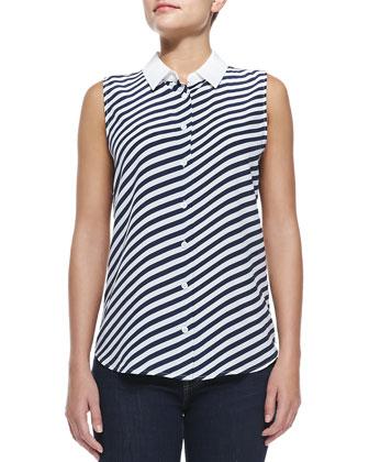 Sleeveless Diagonal-Striped Top