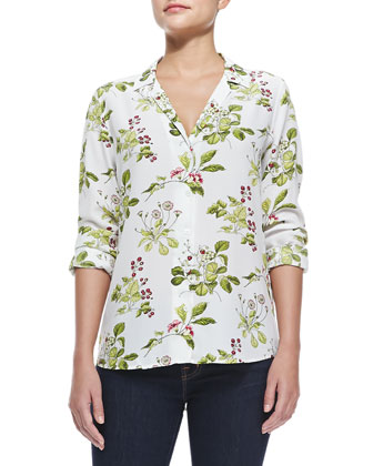 Long-Sleeve Floral Button-Down Blouse