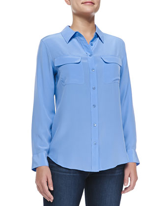 Slim Signature Long-Sleeve Silk Blouse, Jewel