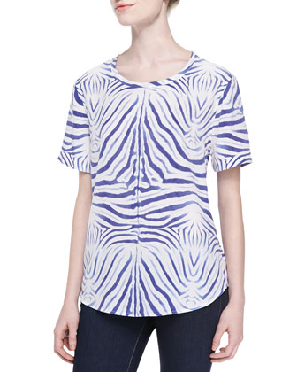 Hyde Short-Sleeve Zebra-Print Top