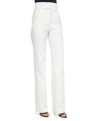 High-Waisted Straight-Leg Trousers, Cream