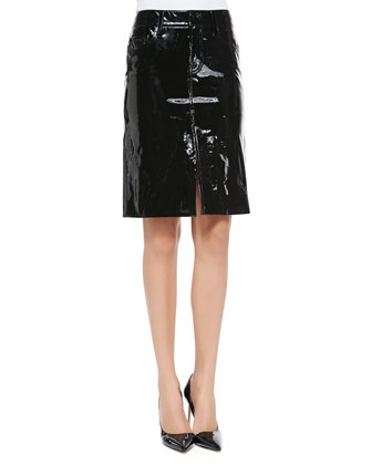 Patent Leather Pencil Skirt, Black