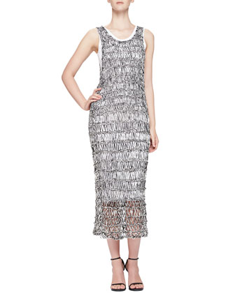 Open-Stitch Sheer Fitted Tank Dress