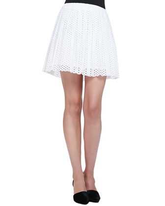 Pleated Dotted Eyelet Skirt