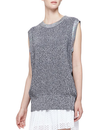 Iridescent-Trim Sleeveless Knit Top