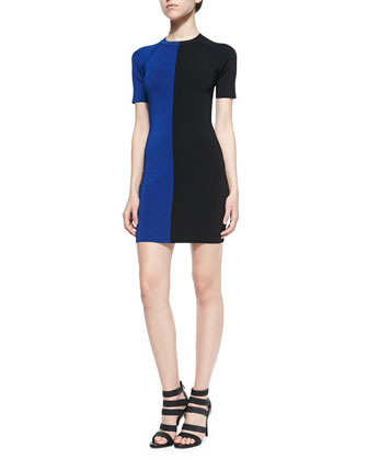 Two-Tone Short-Sleeve Dress