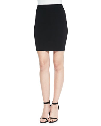 Stretch Knit Pencil Skirt, Black