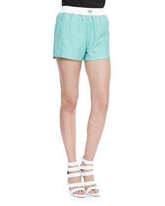 Matte Leather Shorts with Drawstring, Seafoam