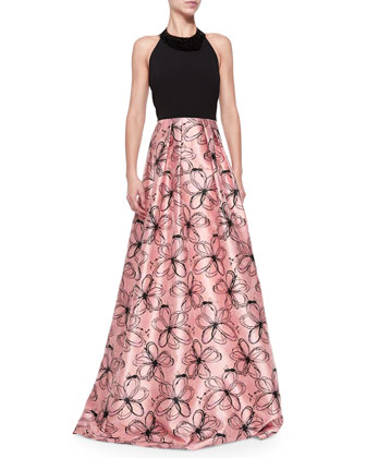 Halter-Neck Gown W/ Floral Skirt