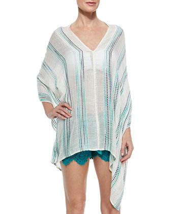 Skull Wide-Stitch Poncho Coverup