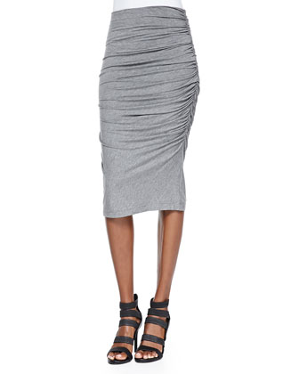 Gathered Slub Pencil Skirt