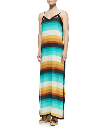 Delta Nina Spaghetti-Strap Striped Maxi Dress