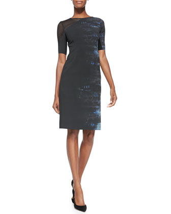 Emory Half-Sleeve Dress W/ Mesh Shoulder