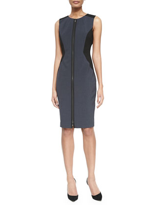 Dorothy Zip-Front Colorblock Sheath Dress