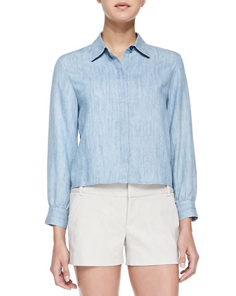 Greer Clean-Placket Chambray Shirt