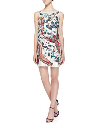 Elliotte Bird/Paisley-Embellished Sequined Shift Dress