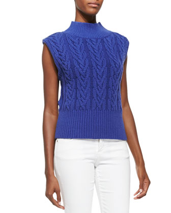 Queena Cable-Knit Sleeveless Sweater