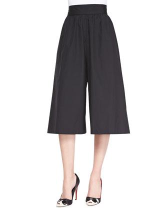 High-Waist Pleated Gaucho Pants