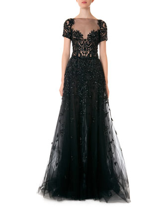 Illusion Beaded Full Tulle Gown