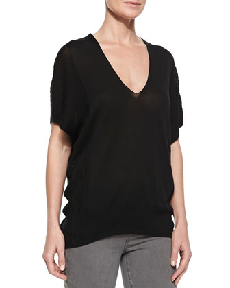 Batwing-Sleeve Double-V Popover Sweater, Black
