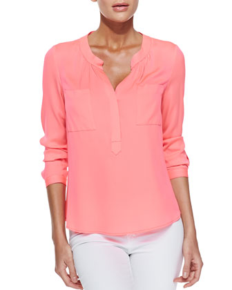Long-Sleeve Blouse with Half Placket