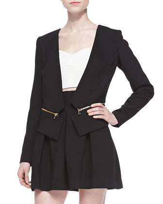 Double-Weave Cady Zip-Off Blazer