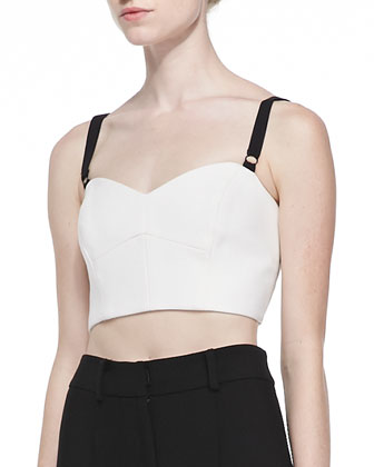 Double-Weave Cady Bustier with Contrast Straps