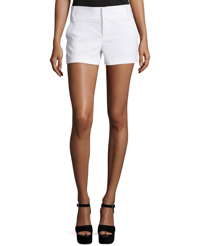 Alice + Olivia Classic Cady Shorts, White, Size: 10
