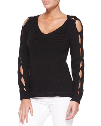 V-Neck Pullover W/ Peek-A-Boo Sleeves