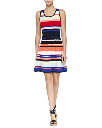 Sleeveless Striped Flared Dress