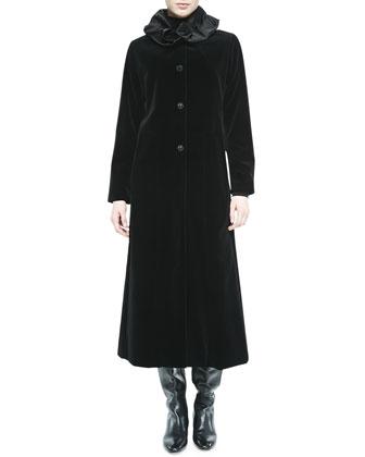 Long Velvet Coat W/ Ruched Collar