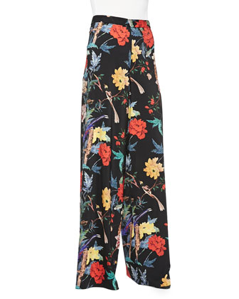 Floral-Print Flared Pants
