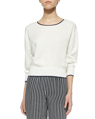 Delpy Contrast-Trim Silk Top