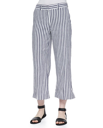 Inza Striped Wide-Leg Pants