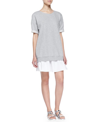 Nalcia Short-Sleeve Sweatshirt Dress W/ Rolled Cuffs