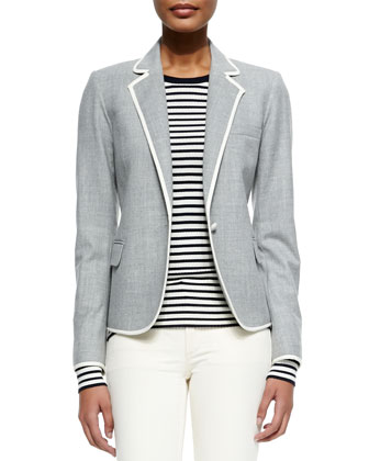 Felisity Contrast-Trim Suiting Blazer