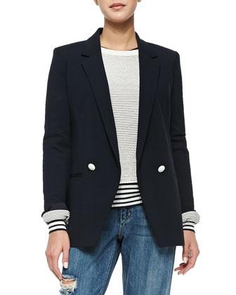 Elkaey Contrast-Button Crepe Blazer