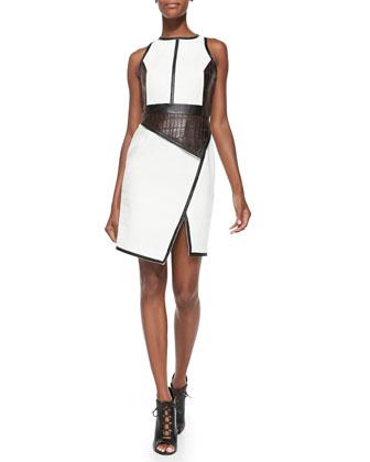 Leather Croc Dress W/ Front Peplum