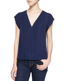 Marcher V-Neck Top with Pleated Front, Navy