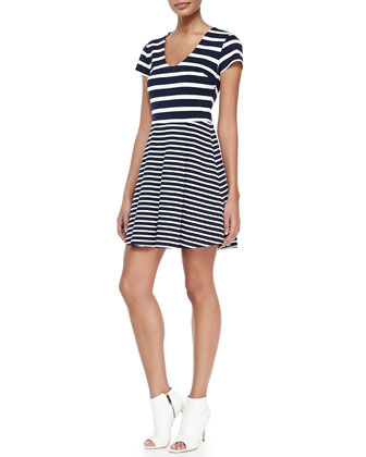 Chikara Striped Short-Sleeve A-Line Dress