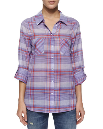 Aidan Long-Sleeve Plaid Top W/ Pockets